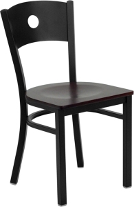 CIRCLE BACK RESTAURANT CHAIR WITH WOOD SEAT