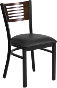 BLACK DECORATIVE SLAT BACK CHAIR WITH VINYL SEAT