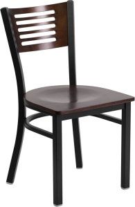 BLACK DECORATIVE SLAT BACK CHAIR WITH WOOD SEAT