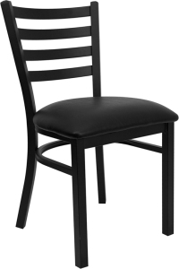 BLACK LADDER BACK RESTAURANT CHAIR WITH VINYL SEAT