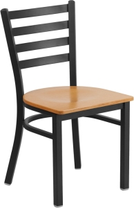 BLACK LADDER BACK RESTAURANT CHAIR WITH WOOD SEAT