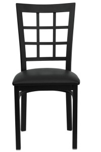BLACK WINDOW BACK RESTAURANT CHAIR WITH VINYL SEAT