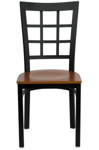 BLACK WINDOW BACK RESTAURANT CHAIR WITH WOOD SEAT