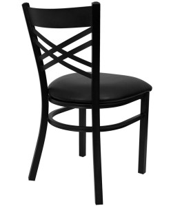 BLACK X BACK RESTAURANT CHAIR WITH VINYL SEAT