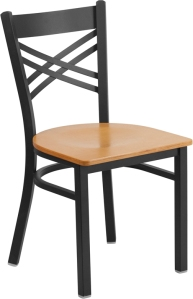 BLACK X BACK RESTAURANT CHAIR WITH WOOD SEAT