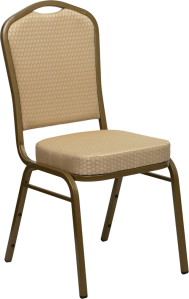 HERCULES SERIES CROWN BACK STACKING BANQUET CHAIR WITH BEIGE PATTERNED FABRIC AND GOLD FRAME FINISH
