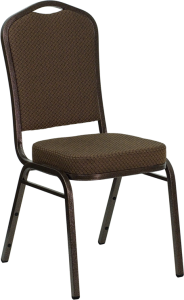 HERCULES SERIES CROWN BACK STACKING BANQUET CHAIR WITH BROWN PATTERNED FABRIC AND COPPER VEIN FRAME FINISH