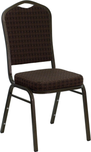 HERCULES SERIES CROWN BACK STACKING BANQUET CHAIR WITH BROWN PATTERNED FABRIC AND GOLD VEIN FRAME