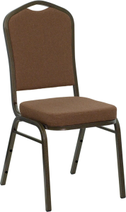 HERCULES SERIES CROWN BACK STACKING BANQUET CHAIR WITH COFFEE FABRIC AND 2.5'' THICK SEAT - GOLD VEIN FRAME