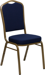 HERCULES SERIES CROWN BACK STACKING BANQUET CHAIR WITH NAVY BLUE PATTERNED FABRIC AND GOLD FRAME FINISH