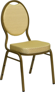 HERCULES SERIES TEARDROP BACK STACKING BANQUET CHAIR WITH BEIGE PATTERNED FABRIC AND GOLD FRAME FINISH