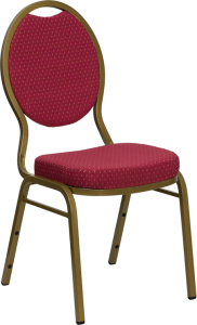 HERCULES SERIES TEARDROP BACK STACKING BANQUET CHAIR WITH BURGUNDY PATTERNED FABRIC AND GOLD FRAME FINISH