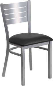 SILVER SLAT BACK CHAIR WITH VINYL SEAT
