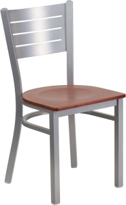 SILVER SLAT BACK CHAIR WITH WOOD SEAT